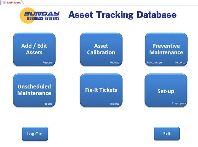 SBS Asset Tracking Database full screenshot